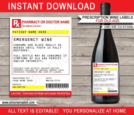 Prescription Wine Bottle Labels For Old Age Printable Funny Prank Gag Birthday Gift Medical Pharmacy Instant Download Editable Text