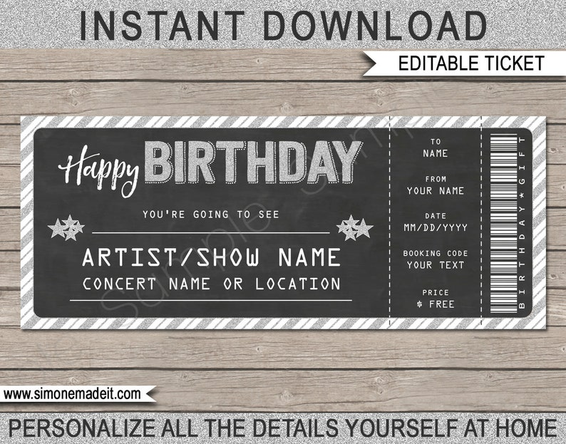 Printable Concert Ticket Gift - Gift Voucher Certificate Fake Ticket -  Surprise Concert, Show, Band - INSTANT DOWNLOAD - EDITABLE text