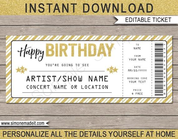 Concert Ticket Birthday Gift