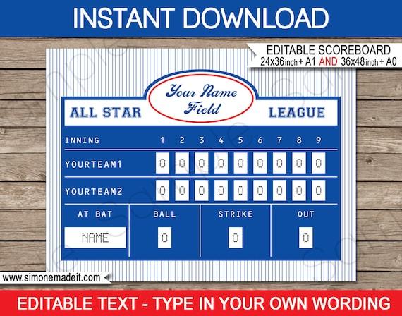 image relating to Printable Backdrop named Baseball Scoreboard Printable Backdrop Indicator - Prompt