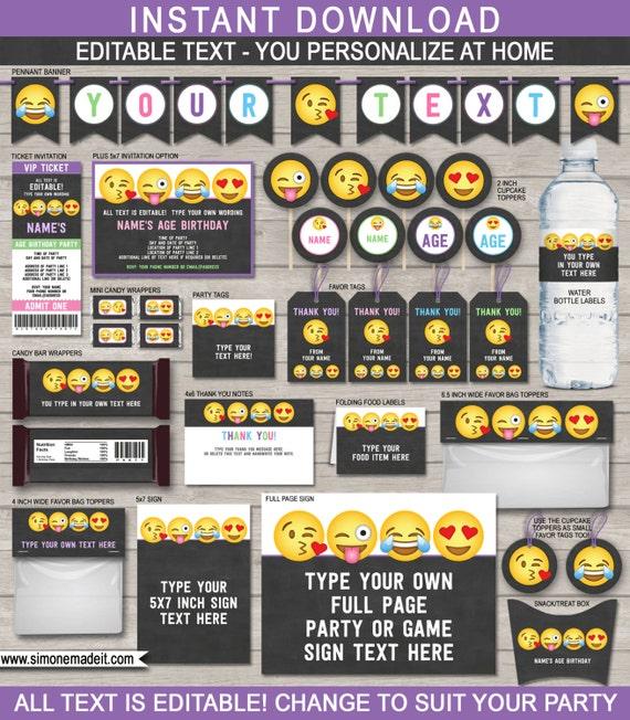 Emoji Party Invitations Decorations