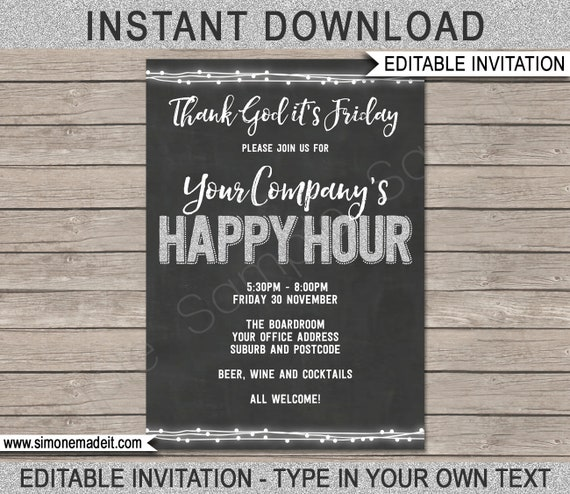 Happy Hour Invite Printable Happy Hour Invitation Etsy