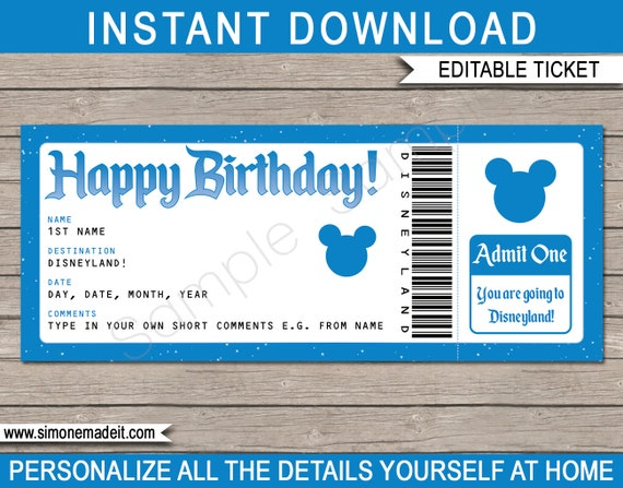ticket to disneyland happy birthday surprise trip diy etsy