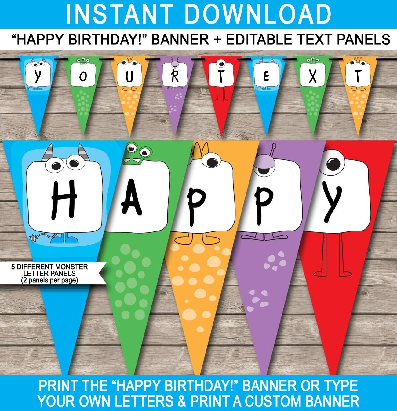 Monster Party Banner Happy Birthday Banner Custom Banner