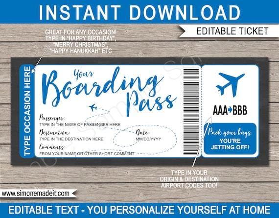 Printable Editable Boarding Pass Template Surprise Fake Plane Ticket Trip Gift Airplane Flight Destination Blue Instant Download