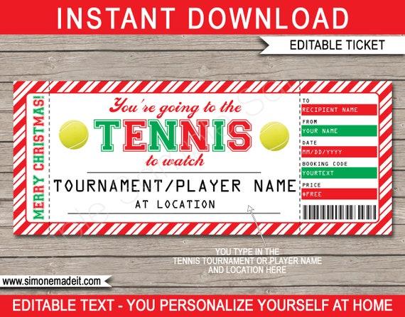 Tennis Christmas Gift Ticket Printable Template Surprise