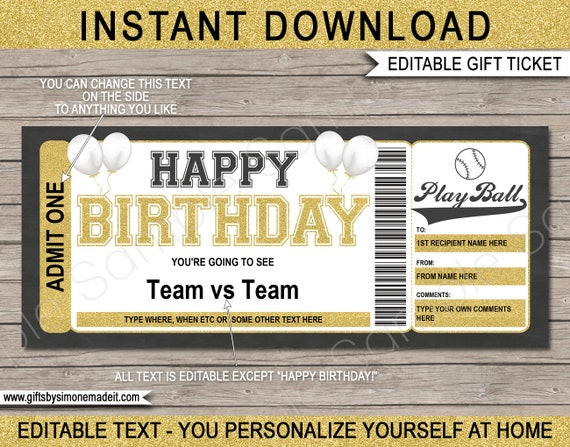 EDITABLE text download Grad Gift Voucher Surprise Ticket to a Soccer Game Soccer Game Ticket Graduation Gift Printable template