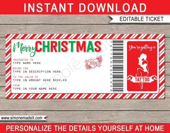 Christmas Tattoo Gift Voucher Ticket Printable Gift