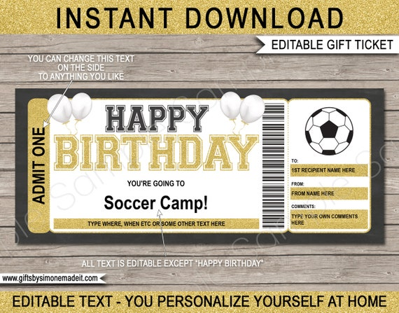 INSTANT DOWNLOAD Surprise Training Camp or Skills Clinic Birthday Soccer Camp Gift Voucher Ticket Template Printable EDITABLE text