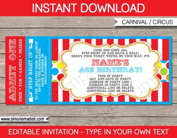 Carnival Ticket Invitation Template Carnival Party