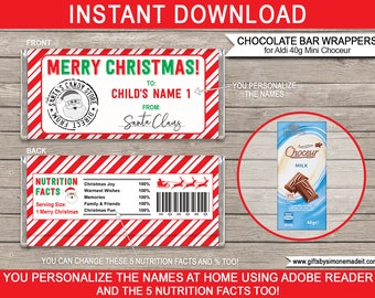 Christmas Chocolate Wrappers Printable Template from Santa Claus - Gift Tags Labels - INSTANT DOWNLOAD with EDITABLE Names, Nutrition Facts