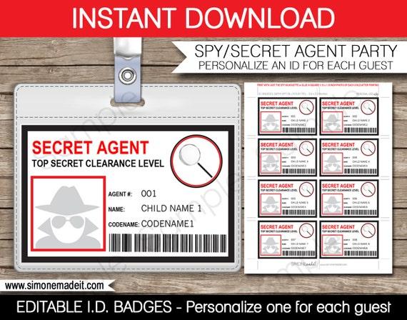 Secret agent badge spy birthday party printable id badge solutioingenieria Gallery