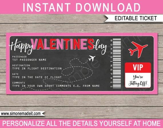 Valentines Day Boarding Pass Gift Ticket Printable Plane Ticket