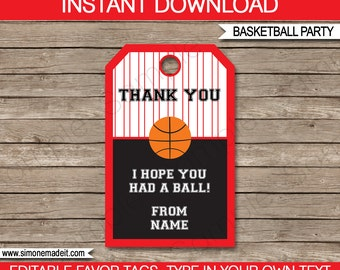 Basketball Favor Tags - Thank You Tags - Birthday Party Favors - Red and Black - INSTANT DOWNLOAD with EDITABLE text - you personalize