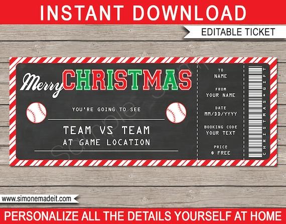 christmas baseball ticket gift surprise baseball game ticket
