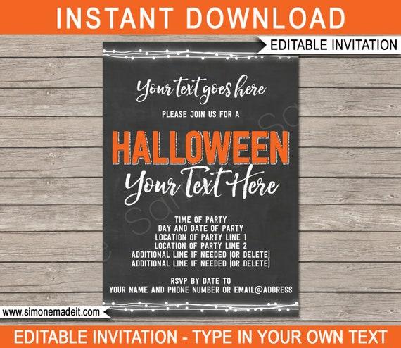 Halloween Party Invitation - Printable Costume Cocktail Birthday