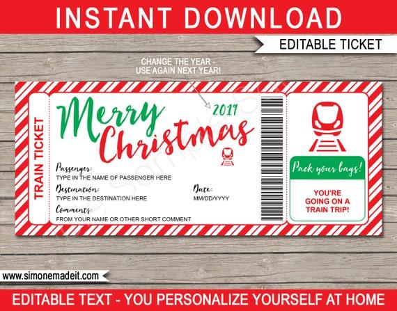 Christmas Train Ticket Printable Template Boarding Pass Gift