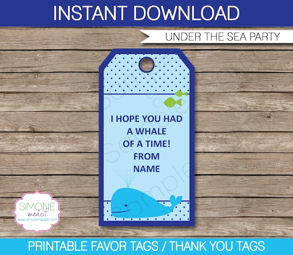 under the sea favor tags thank you tags birthday party favors
