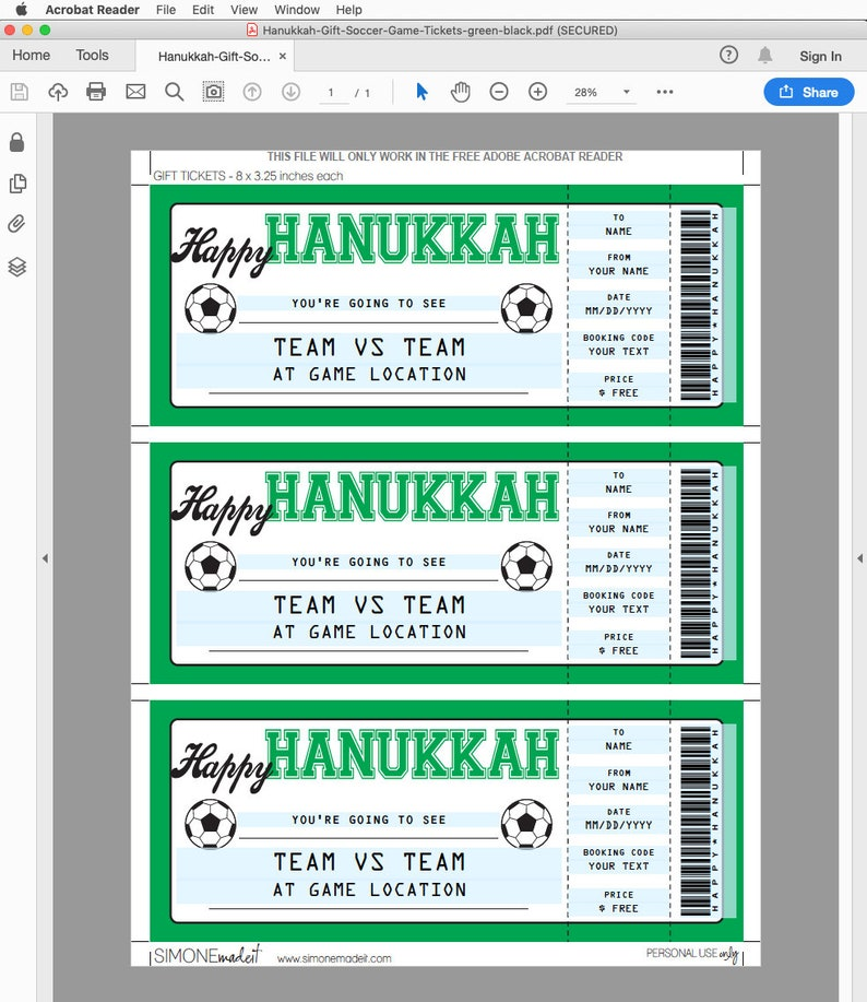 Printable template INSTANT DOWNLOAD Surprise Ticket to a Soccer Football Game EDITABLE Gift Voucher Soccer Game Ticket Hanukkah Gift