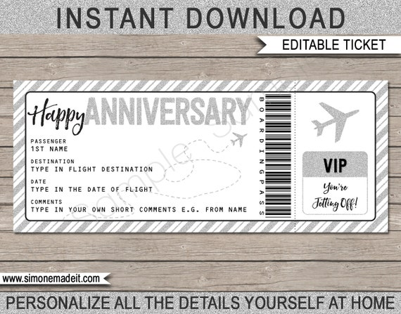 Anniversary Gift Boarding Pass Printable Ticket Surprise Etsy