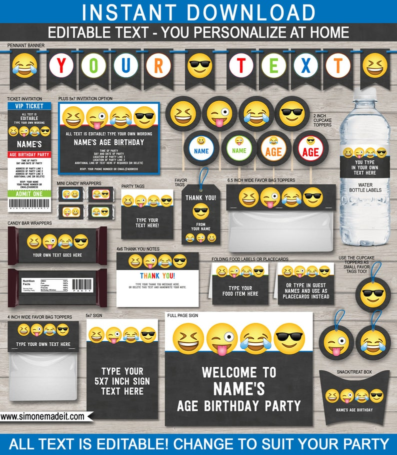 Emoji Party Decorations Invitations Boys Printable Templates  image 0