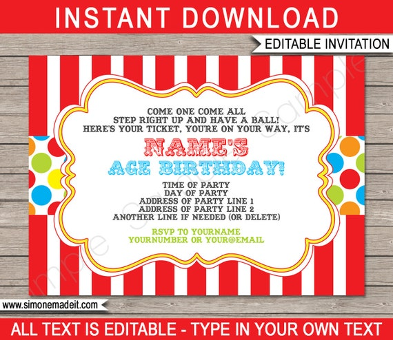 Striking image in printable carnival birthday invitations