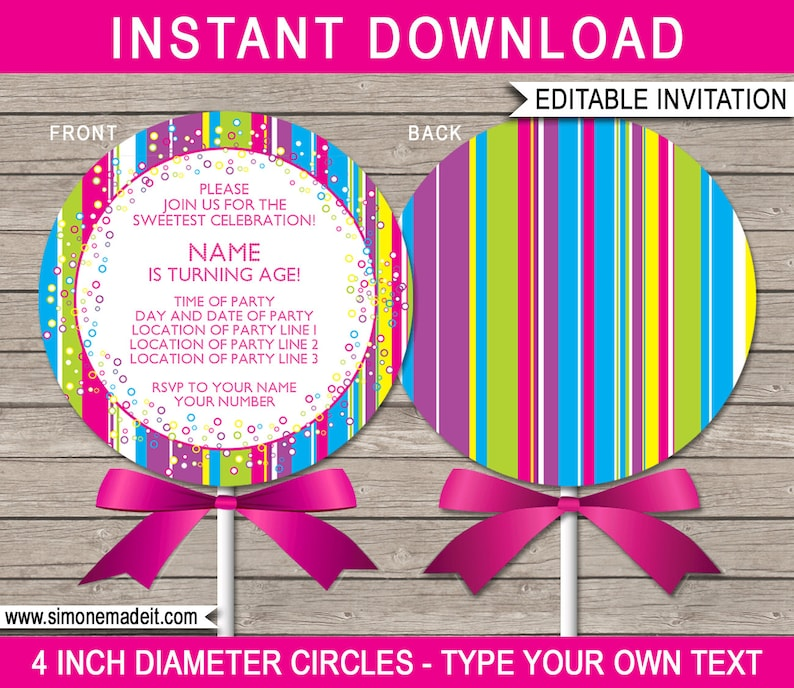 photo regarding Lollipop Template Printable titled Lollipop Invitation Template - Printable Lollipop Birthday Social gathering Invites - 4 inch diameter - Instantaneous Down load with EDITABLE terms