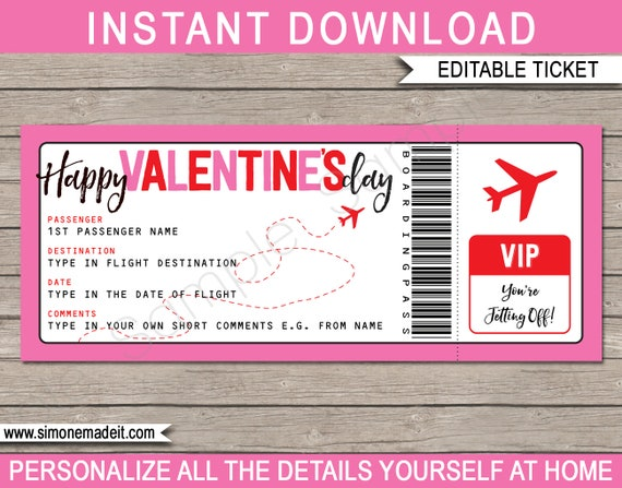 Boarding Pass Gift Valentines Day Plane Ticket Printable Voucher