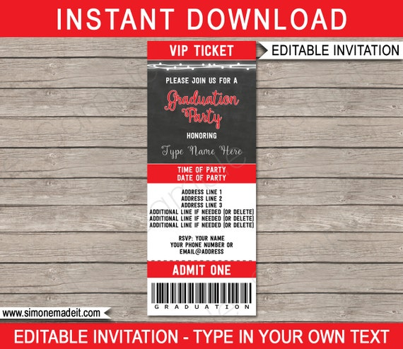 Graduation party ticket invitation template red chalkboard for il570xn filmwisefo