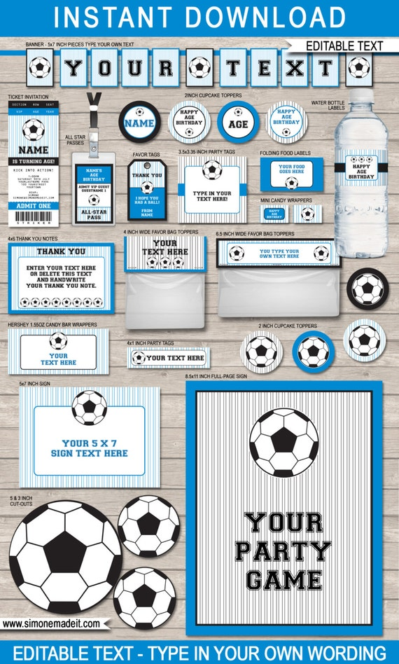 Blue Soccer Printables Birthday Party Full Printable Package INSTANT DOWNLOAD With EDITABLE Text You Personalize At Home