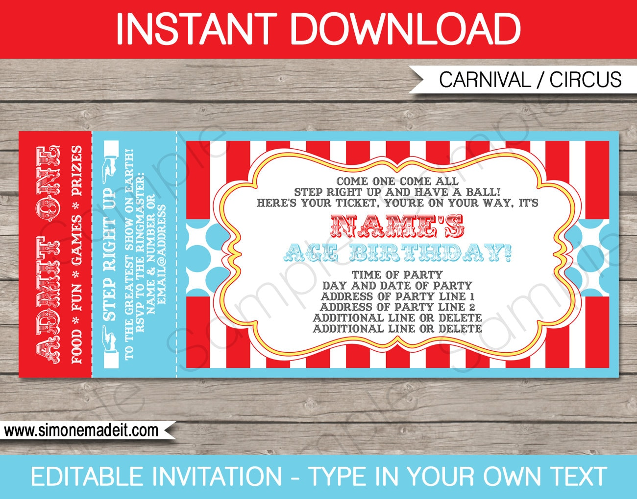 circus ticket invitation template carnival party circus