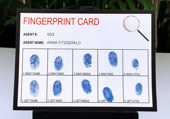 picture about Printable Fingerprint Cards known as Spy Mystery Representative Social gathering Fingerprint Playing cards - Printable Template - Immediate Obtain with EDITABLE terms - your self customize at residence