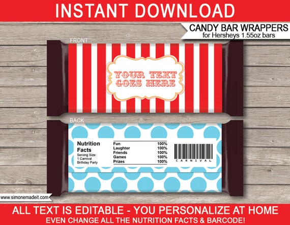 Carnival Party Carnival Party Candy Bar Wrappers Instant Download Carnival Party Favor Labels Carnival Party Hershey Candy Bar Wrappers