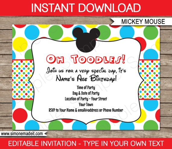 Superb image for free printable mickey mouse birthday invitations