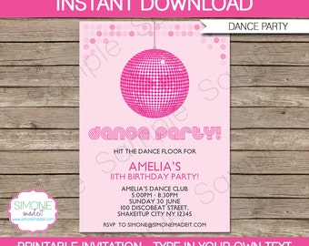 Dance Party Invitation Template - Birthday Party - INSTANT DOWNLOAD with EDITABLE text - you personalize at home