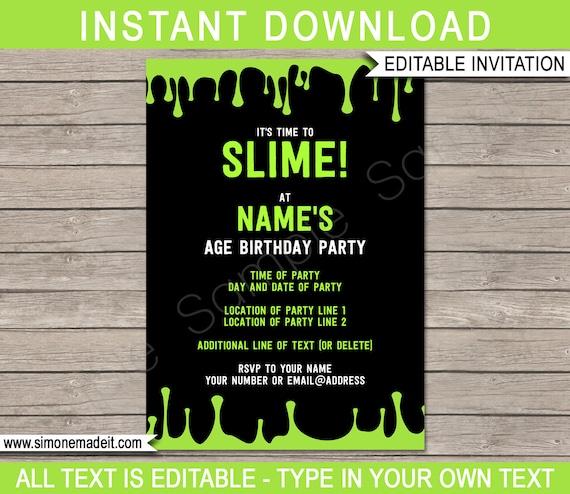Slime Party Invitation Template Slime Theme Birthday Party Invite