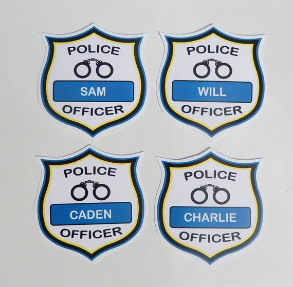 Police Officer Badges Printable Police Birthday Party Etsy