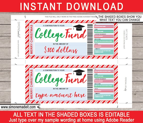 Printable College Fund Gift Certificate Tuition Voucher INSTANT DOWNLOAD with EDITABLE text 529 College Savings Plan Contribution
