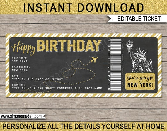 New York Boarding Pass Birthday Gift Ticket