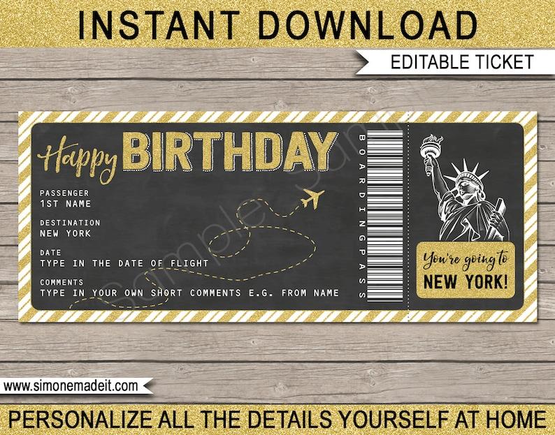 New York Boarding Pass Birthday Gift Ticket Surprise Flight