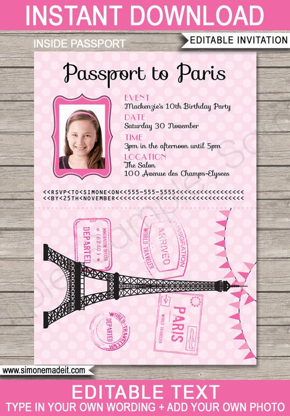 Paris Passport Invitations Printable Photo Invite Paris Theme Birthday Party Instant Download Editable Text Personalize At Home