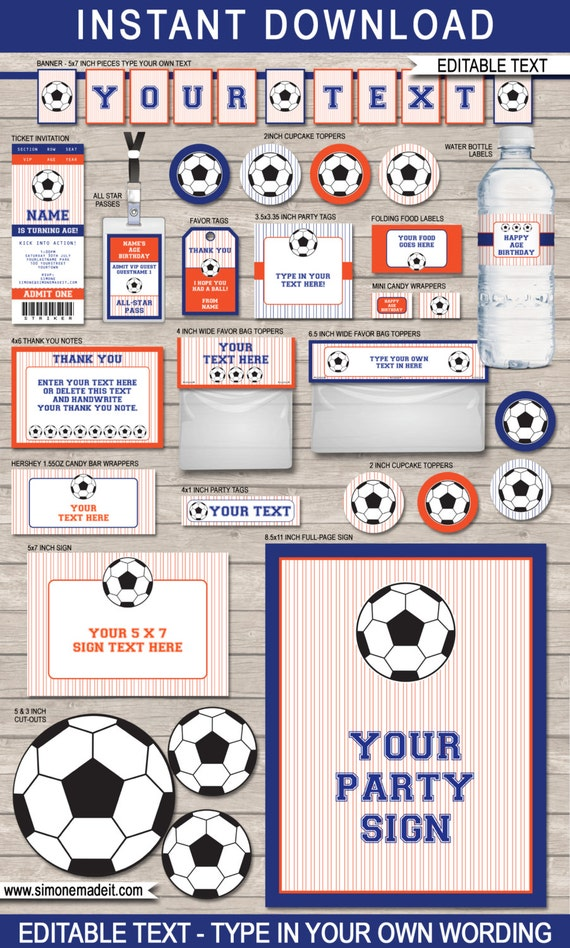 Printable Soccer Package Dark Blue And Orange Full Party