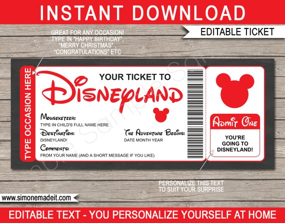 image regarding Printable Disney Tickets named Printable Disneyland Family vacation Ticket Present Template - Speculate