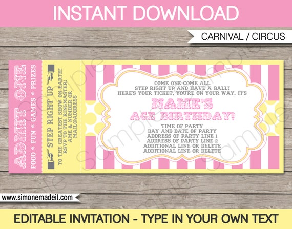 graphic relating to Free Printable Carnival Invitations identify Purple Carnival Ticket Invitation Template - Carnival Occasion