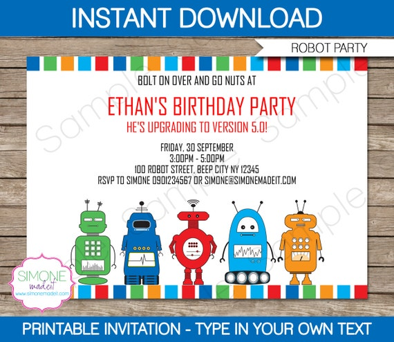 Robot Invitation Template Birthday Party INSTANT DOWNLOAD With EDITABLE Text