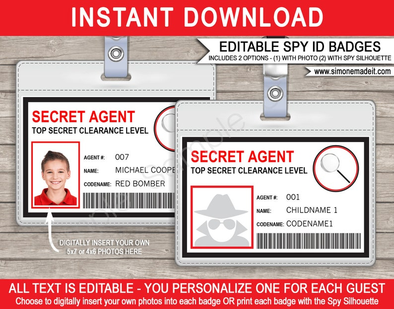 graphic regarding Secret Agent Badge Printable known as Spy Birthday Celebration Badge - Key Consultant Badge - Printable Identity Badge Template - Quick Down load with Editable words - on your own customize at household