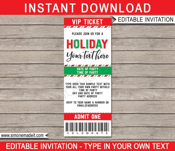 Holiday Party Ticket Invitation Template Printable Invite Open