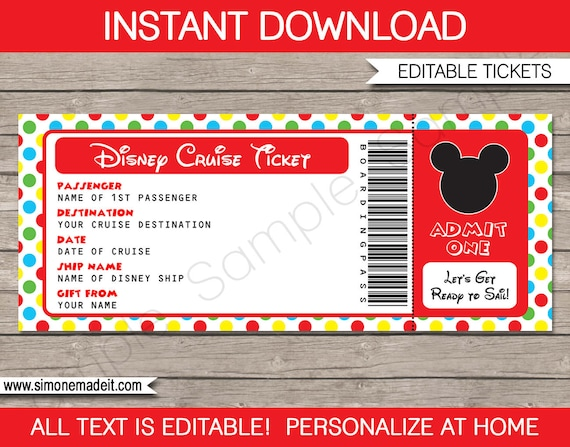 disney cruise ticket mickey mouse surprise gift ticket