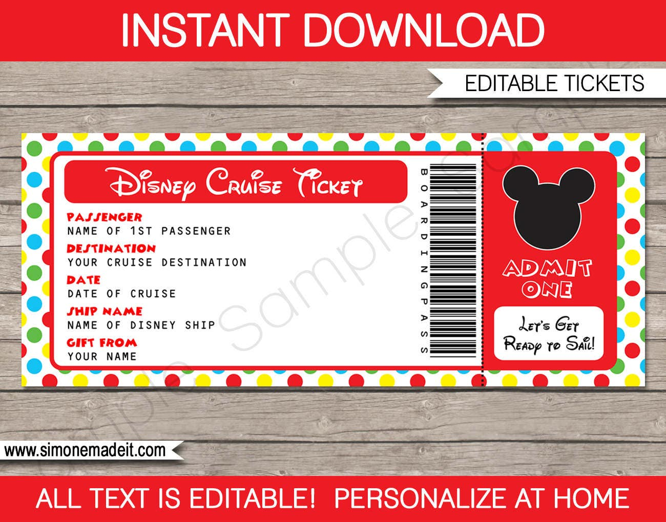 disney cruise ticket mickey mouse surprise gift ticket etsy