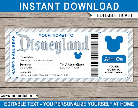 graphic regarding You're Going to Disneyland Printable named Hanukkah Disneyland Family vacation - Printable Disney Ticket
